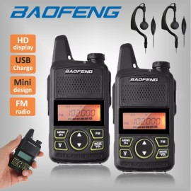2pcs BaoFeng BF-T1 400-470MHz 20CH Walkie Talkie with Earphones US Plug
