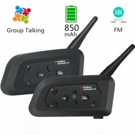 2pcs V4 4 Way Motorcycle Intercom 850mAh Cascos Inalambrico Bluetooth Helmet Headset Manos Libres Waterproof FM Radio