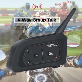 V4 4 Way Motorcycle Intercom 850mAh Cascos Inalambrico Bluetooth Helmet Headset Manos Libres Waterproof FM Radio