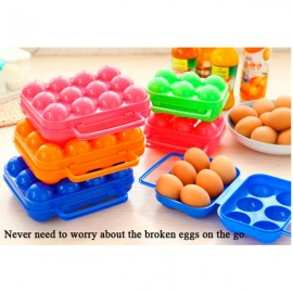 6 Grid Plastic Portable Handle Shock-resistant Egg Container for Camping Random Color