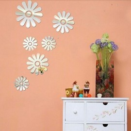 6pcs Sweet Little Flowers Style Acrylic Mirror Wall Sticker Silver