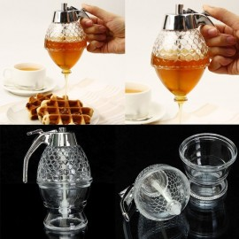 200mL Honeycomb Dispenser Acrylic Honey Pot Gravy Boats Crystal Syrup Dispenser