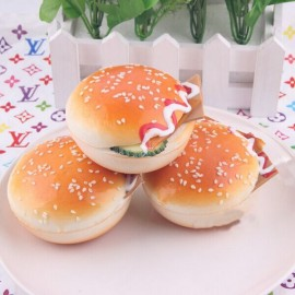 7.5CM Random Squishy Simulation Hamburger Bread Fridge Magnet Decoration Light Orange