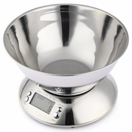 LCD Display Stainless Steel Kitchen Scale with Clock Temperature Silver