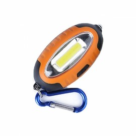 Outdoor COB LED Keychain Lamp Work Light Mini Pocket Torch Money Detector with Carabiner Orange