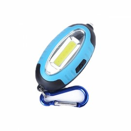 Outdoor COB LED Keychain Lamp Work Light Mini Pocket Torch Money Detector with Carabiner Blue