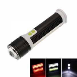 Multifunction Waterproof Flashlight USB Rechargeable COB Zoomable Black