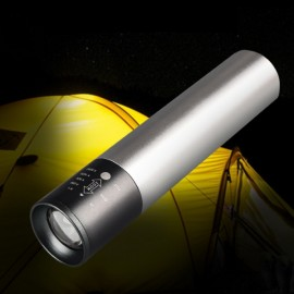 Q5 Multi-Function USB Charging High Power Telescopic Zoom LED Light Flashlight Power Bank Torch - Silver