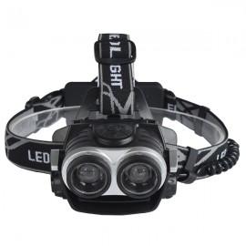 2xT6 3 Mode 600 Lumens Outdoor Sports Angle Adjustable LED Zoomable USB Interface Headlamp Focus Headlight Black