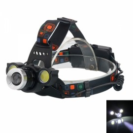 Outdoor Sports (1*T6+2*COB) 1200LM 4 Modes Adjustable Zoom LED Headlamp Black