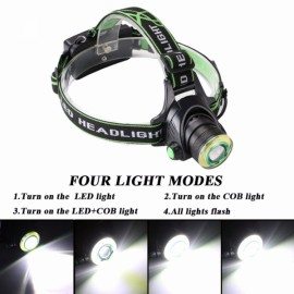 Waterproof Headlight 4 Modes 3800LM LED Zoomable HeadLamp