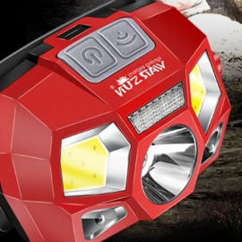 WARSUN 60°Rotating Smart Inductive Headlight LED Hight Lumens Outdoor Waterproof Headlamp - Red