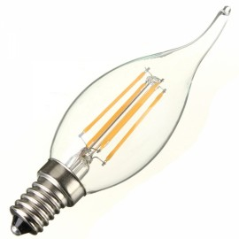 E14 4W 360LM 6000K White Light COB LED Filament Candle Bulb (AC220V)