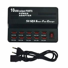 40W 10USB 12A USB Smart Charging Plug/Fast Charger - EU Plug