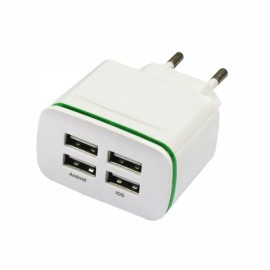 4USB AC100-240 4A Mobile Phone Charger With Green Light EU Plug