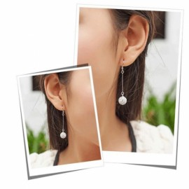 Fashion Silver Plated Shiny Crystal Ball Drop Earrings Wedding Party Birthday Jewelry Gift