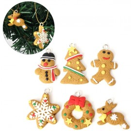 6pcs Cute Tree Keychain Hanging Ornament Polymer Clay Decoration Golden