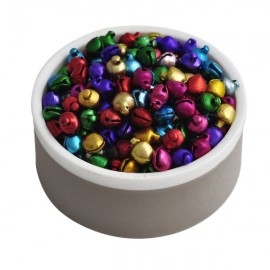 200pcs 8MM Loose Beads Slot-open Small Jingle Bells Decoration Gift Mix Colors