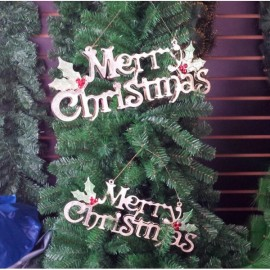 40cm Merry Letter Hanging Board Decoration for Tree Ornament Silver