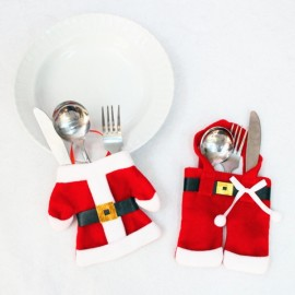 6pcs Clothes & Pants Cutlery Holder Set Dinner Party Decoration Red