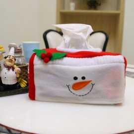 Decoration Snowman Pattern Tissue Box Cover Holder Home Party Holiday Decor Red & White