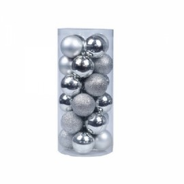 24pcs/30mm Christmas Tree Decor Ball Hanging Ball for Christmas/Party/Brithday/Gift - Silver