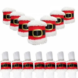 4pcs Santa Claus Leather Belt Napkin Ring Serviette Holder Decor Red & White & Black