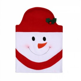 Snowman Chair Back Covers for Christmas Kitchen Dinner Decoration Red