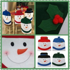 Snowman Chair Back Covers for Christmas Kitchen Dinner Decoration Green