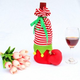 Shoe Shape Stripes Design Wine Bottle Cover Case Wrap Bag Party Table Decoration Red & White