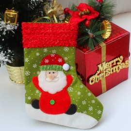 Candy Bag Santa Cluas Pattern Decoration Socks Tree Decoration Supplies Green