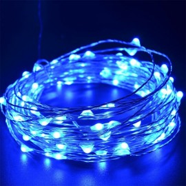 10M/100 LED Lights Waterproof Copper Wire Lights String Holiday Decorative/Wreath/Christmas Tree/Wedding/Party Decoration EU Adapter Blue