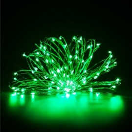 10M/100 LED Lights Waterproof Silver Line Lights String Holiday Decorative/Wreath/Christmas Tree/Wedding/Party Decoration EU Adapter Green