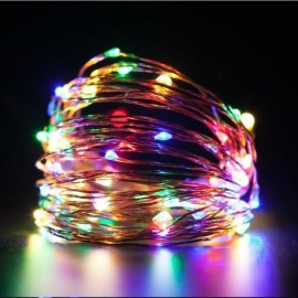10M/100 LED Lights Waterproof Copper Wire Lights String Holiday Decorative/Wreath/Christmas Tree/Wedding/Party Decoration EU Adapter Four-colored