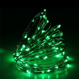 10M/100 LED Lights Waterproof Silver Line Lights String Holiday Decorative/Wreath/Christmas Tree/Wedding/Party Decoration US Adapter Green