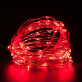 10M/100 LED Lights Waterproof Silver Line Lights String Holiday Decorative/Wreath/Christmas Tree/Wedding/Party Decoration US Adapter Red