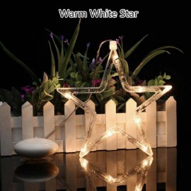 Star LED Christmas Decorative Hanging Light Window Sucker Lamp Warm White