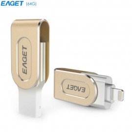 EAGET i80 64GB USB 3.0 Stylish Rotation Metal 8 Pin USB OTG Expansion