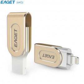 EAGET i80 64GB USB 3.0 Stylish Rotation Metal 8 Pin USB OTG Expansion