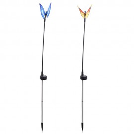 2pcs Solar Powered RGB LED Fiber Optic Butterfly Light Outdoor Color-c