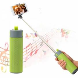 Portable Wireless Bluetooth Speaker with Selfie Stick/Power Bank/Phone Shelf Green