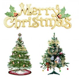 30cm Merry Christmas Letter Hanging Board Decoration for Christmas Tree Ornament Golden