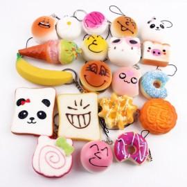 15pcs Mini Cartoon Style Squishy Soft Panda Bread Cake Buns Phone Strap Pendants Random Delivery