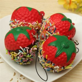 Squishy Sprinkles Strawberry Strap Soft Bread Scented Charms Squishies Toy Decor Random Color