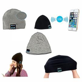 Fashionable Autumn & Winter Warm Smart Talking Cashmere Music Beanie Hat with Built-in Wireless Bluetooth Stereo Headphones Gray