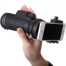 10*40 Hiking Concert Optical Camera Lens Monocular Cellphone Telescope with Smartphone Holder Black