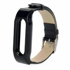 Cow Leather Wristband Anti-lost Design Strap for Xiaomi Miband / 1S Black & Silver