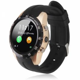 KW08 Round Dial Heart Rate Monitor Camera SIM Card Waterproof NFC Bluetooth Smart Watch for Android & iOS Black & Golden