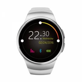 KingWear KW18 Round Dial MTK2502C Heart Rate Sleep Monitor Bluetooth Smart Watch Silver