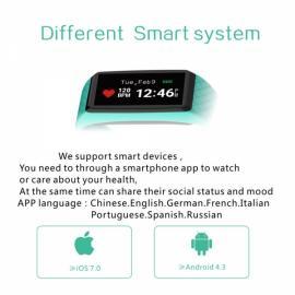 INCHOR Wristfit HR IP67 Waterproof Fitness Tracker Heart Rate Sleep Monitor Bluetooth Smart Wristband Blue